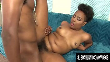 Jet Black Chick Fills Her Mouth & Pussy Upon Fuck Bbc
