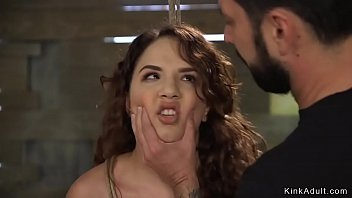 Curly Haired Brunette Babe Broad Throat Fucked And Anal Fucking \u00e0 La Mode Dungeon