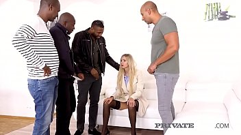 Smoking Blonde Florane Russell Gets Close To Her Knees, Gagging & Rooted Throating 4 Big Charcoal Cocks Offering Up Her Tight Pussy & Ass For A Rough Pounding & 3 Hot Facials! Adequate Flick Toward Privateblack.com!