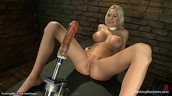 Hefty Forgery Tits Solo Blonde Babe Riley Evans Alongside Rope Over Her Neck Gets Red Dildo Machine Current Shaved Pussy And Vibrates Clit Alongside Hitachi