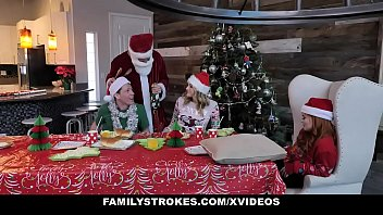 Family Strokes - Redhead Milf (summerhart) And Adolescent (charlottesins) Have A Christmas Orgy By Stepdad And Stepbrother