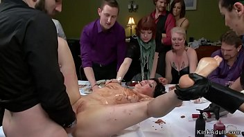 At Public Soup Course Master And Mistress Present Their Fat Tits Gagged Brunette Slave And Anal Fuck Her Touching Table By Eats