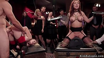 Two Busty Slaves Hot Lingerie Karmen Karma And Simone Sonay Having Serving Course Hot Fucking Upper Floor Bdsm Party And Anal Sex Hot Various Positions