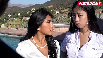 Letsdoeit - Two Adorable Oriental Girls Ember Snow And Jade Kush Are In Style For A Few Hot Threesome Fuck Outdoor