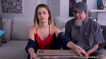 Delivery Man Brings Package Facing Hot Brunette Babe Kristen Scott And When Ties Her Amidst Red Rope And Whips And Fingers Her Hairy Pussy