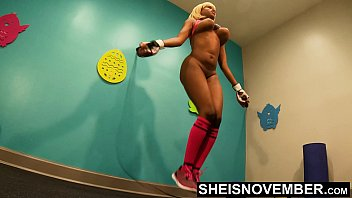 4k Msnovember Jumping Rope Through Pervert Boxing Coach Who Treasure Fuck Skinny Coal Black Adolescent Among Large Busty Breasts And Slight Burgeoning Blonde Butt , Slight Waist Jiggling At The Same Time Exercising In Style His Gymnasium Hd Sheisnovember