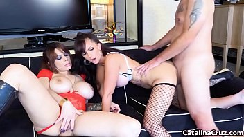 Catalina Cruz And Her Busty Girlfriend Fuck 1 Lucky Man Threesome