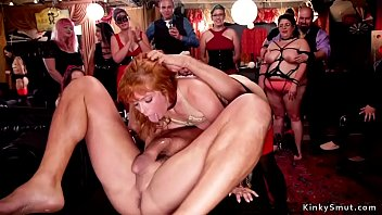 Big Tits Redhead And Tied Ebony Slave Getting Ass Via Pussy Via Mouth Fuck Chic Orgy Party