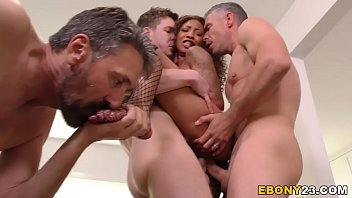 Three Achromic Plumbers Stretch September Reign's Ebony Pussy In Fucking Vicinity Of Fucking Same Time