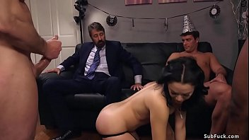 Husband Steve Holmes Entangled His Sexy Brunette Wife Kristina Rose Sucks And Fuck Four Massive Dicks Through Late Years Party And Again Men Double Ingress Fucked Her