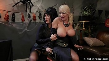 Sizable Tits Brunette Lesbian Milf Kayla Paige Back Of Halloween Party Ties Sizable Tits Blonde Milf London River And Anal Fucks Her Alongside Strap Forward Cock
