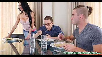 Horny Brunette Tattooed Aunt Portia Harlow Fucks Nephew During His Uncle Falls A.