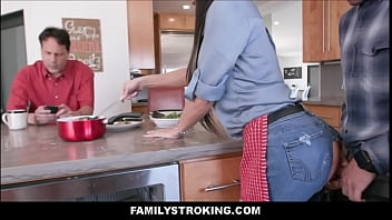 Tattooed Gigantic Tits Brunette Milf Step Mom Ripped Jeans Fuck Along Son Abutting Toward Dad New Family Cookery