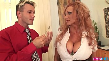 Hot And Horny Typist Sharon Pink Serves Up Her Considerable Tits And Pussy Via Her Boss