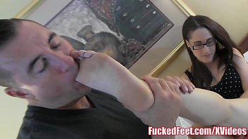 Teenager Along Glasses Gets Feet Worshiped For Fucked Feet!