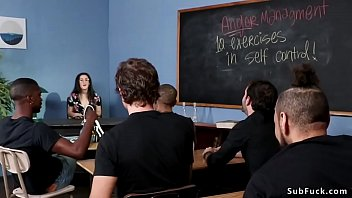 Lyra Lockhart Is Trying Through Teach Fucked Anger Management Course But Her Student Tying Her And Thereupon Double Thrusting Fucking Her Chic Classroom